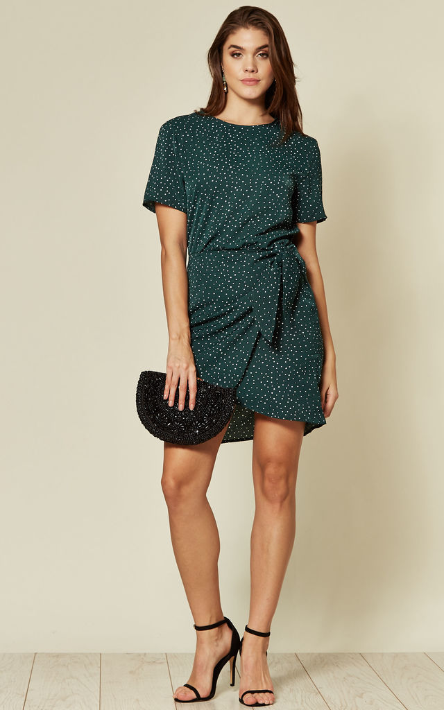Polkadot mini wrap dress green by Another Look