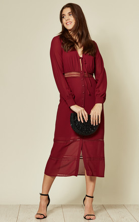 The Kipling, Lacetrim Midi Dress in Burgundy by LIENA