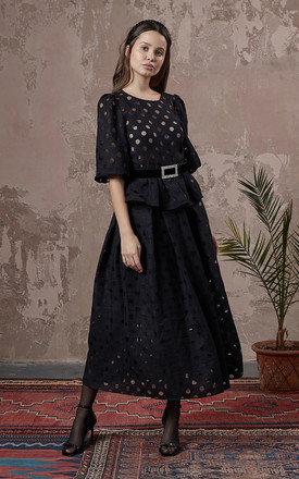 Wide Sleeve And Gathered Waist Blouse With Black Jacquard Spot Fabric by fasheon