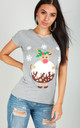 Christmas Pudding Graphic Print Slim Fit Tshirt In Grey by Oops Fashion