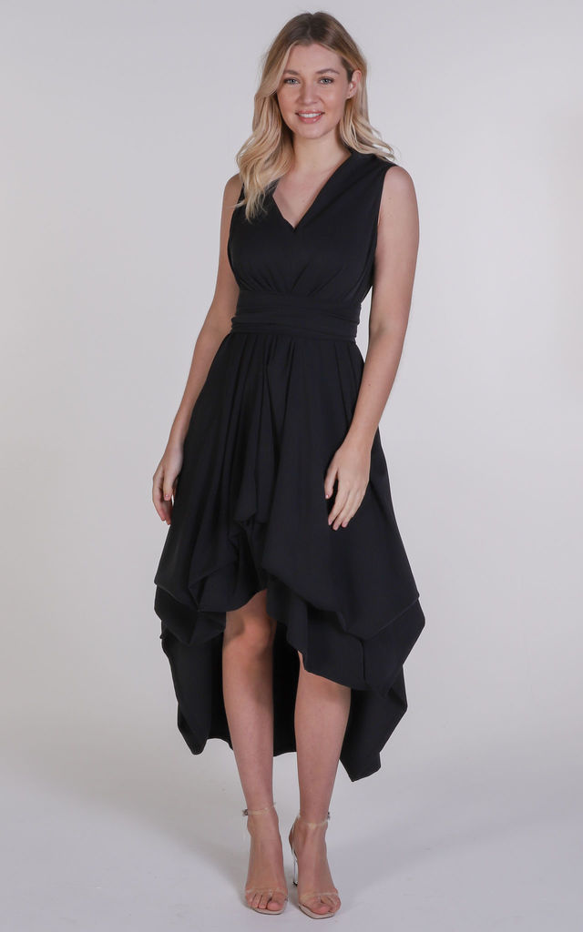 Black Asymmetric Harlow Dress by Blonde And Wise