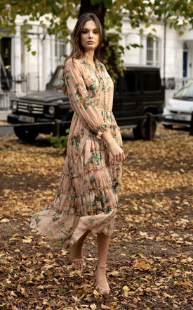 Autumn Floral Ruffle Maxi Dress In Nude by Anne Louise Boutique Product photo