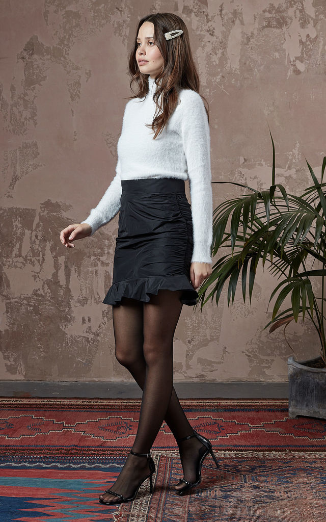 Tafetta Mini Skirt With Frilled Hem by fasheon