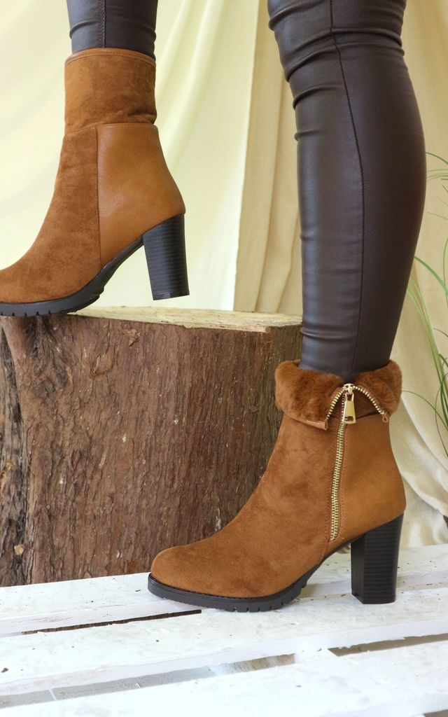Camel faux fur zip up heeled boots by Bond Street Shoe Company