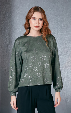 Shiny Star Printed Green Jumper by Love By Joy Product photo