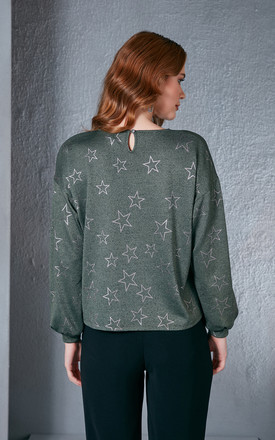 Shiny Star Printed Green Jumper by Love By Joy