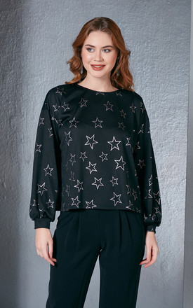 Shiny Star Printed Black Jumper by Love By Joy Product photo