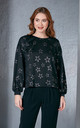Shiny Star Printed Black Jumper by Love By Joy