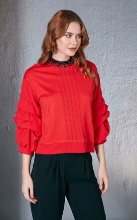 Red Jumper With Embellished Neck & Ruffle Sleeves by Love By Joy Product photo