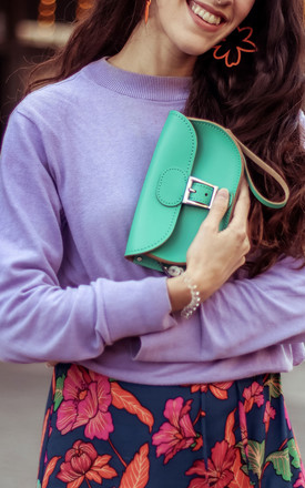 Small Leather Clutch Bag In Bright Green by Brit-Stitch Product photo