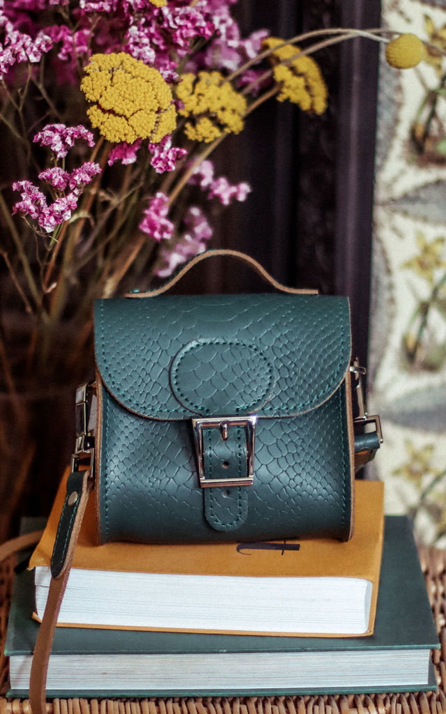 Croc Print Mini Leather Cross Body Bag in Forest Green by Brit-Stitch