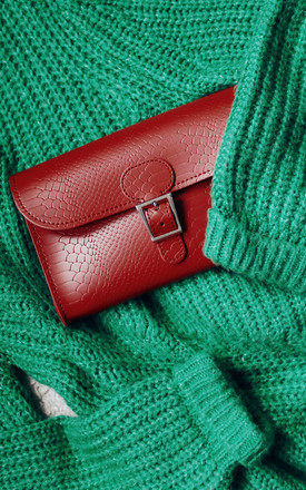 Croc Print Clutch Bag In Deep Red by Brit-Stitch Product photo