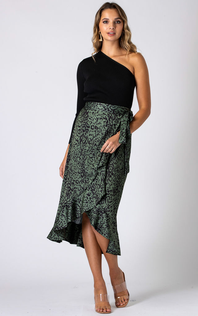 Leopard Print Wrap Midi Skirt With Frill Hem in Green by URBAN TOUCH