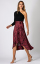 Leopard Print Wrap Midi Skirt With Frill Hem in Red by URBAN TOUCH