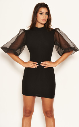 Black Puff Sleeve Bodycon Dress by AX Paris Product photo