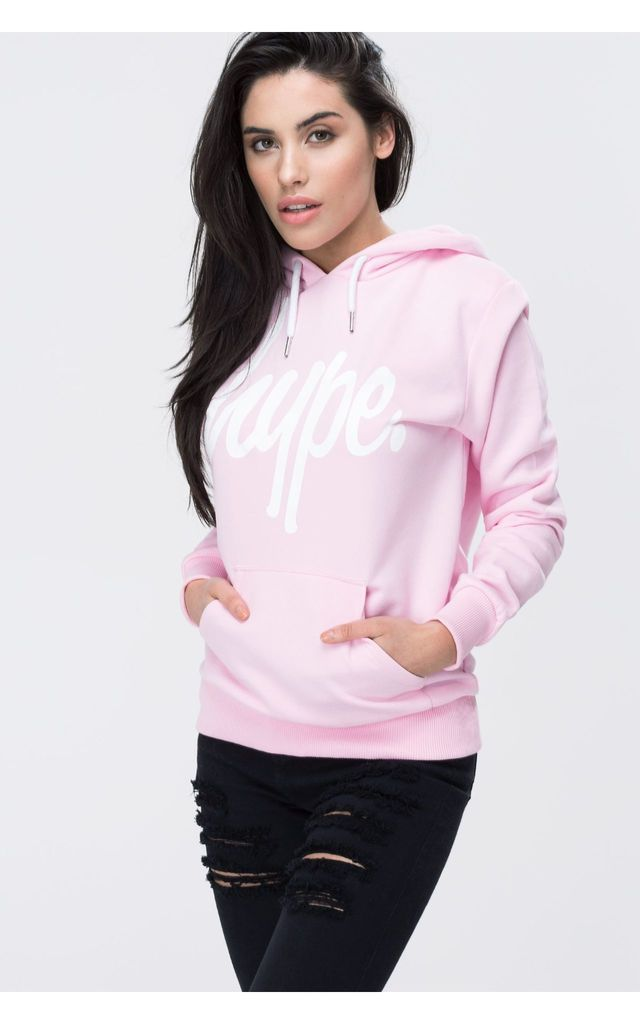 HYPE PINK WHITE SCRIPT HOODIE by Hype