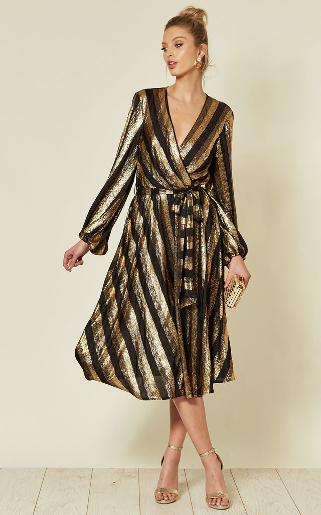 Wrap Front Midi Dress in Gold Stripe by FLOUNCE LONDON