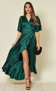 Jacquard Pattern Dress in Emerald Green by FLOUNCE LONDON