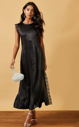 Satin Maxi Dress With Lace Trim In Black by Phoenix & Feather Product photo