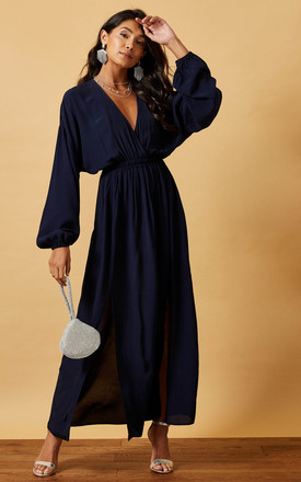 Maxi Batwing Dress With Wrap Top In Navy by Phoenix & Feather Product photo