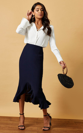 Midi Skirt With Frill Hem In Navy by Phoenix & Feather Product photo