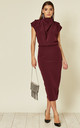 Gracie Midi Dress in Maroon by House Of Lily