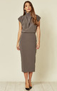 Gracie Midi Dress in Grey by House Of Lily