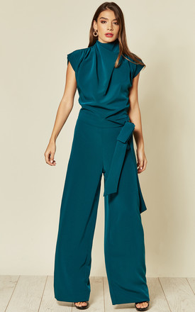 Belted Gracie Jumpsuit in Teal Prada by House Of Lily