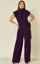 Belted Gracie Jumpsuit in Royal Purple Prada by House Of Lily