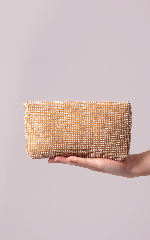 Dakota Gold Diamante Foldover Clutch Bag by KoKo Couture