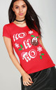 Ho Ho Ho Red Christmas T-Shirt by Oops Fashion
