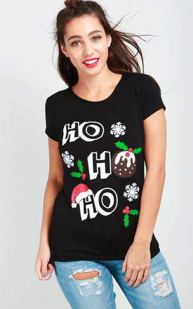 Ho Ho Ho Black Christmas T-Shirt by Oops Fashion