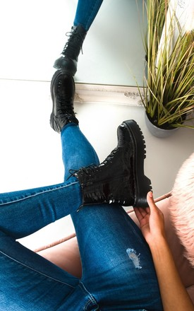Sally Lace Up Croc Print Biker Boots in Black by IKRUSH