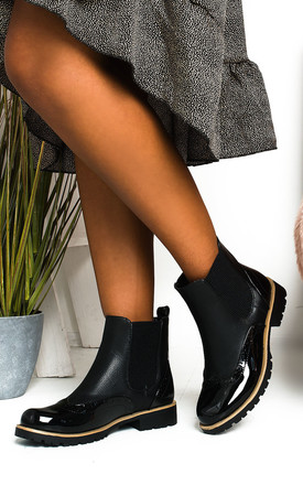 Aimee Faux Leather Brogue Chelsea Boots in Black by IKRUSH