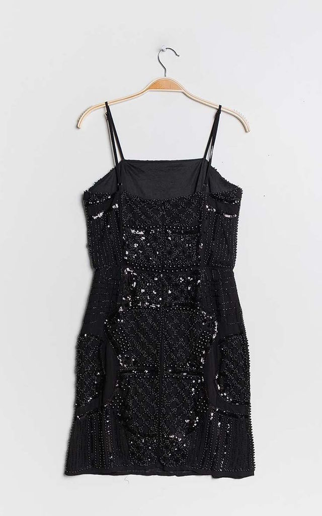 The Palermo Pearl Sequin Strappy Dress in Black by Brunch Club Girls.