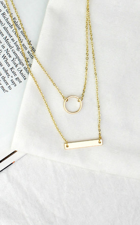 Gold Circle and Bar Layered Necklace by HAUS OF DECK