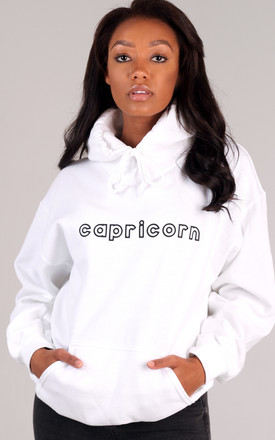 Oversized CAPRICORN Starsign Hoodie in White by LimeBlonde