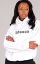 Oversized PISCES Starsign Hoodie in White by LimeBlonde