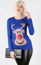 Reindeer Christmas T Shirt in Blue by Oops Fashion