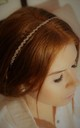 Pink Champagne bead swirl headband crown by Kate Coleman