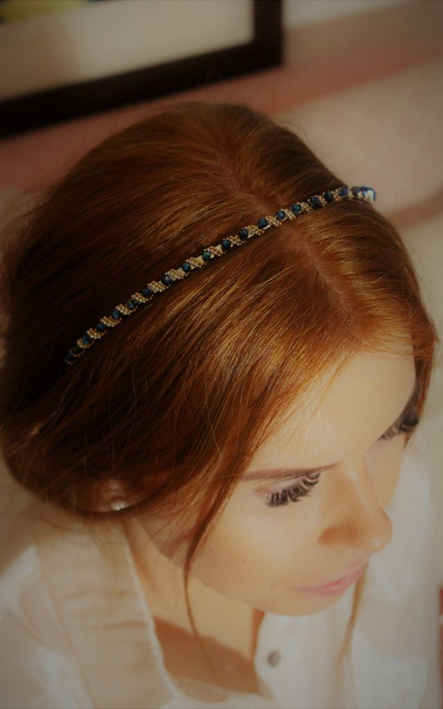 Blue midnight bead swirl headband crown by Kate Coleman