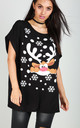 Black T-Shirt In Reindeer Christmas Print by Oops Fashion