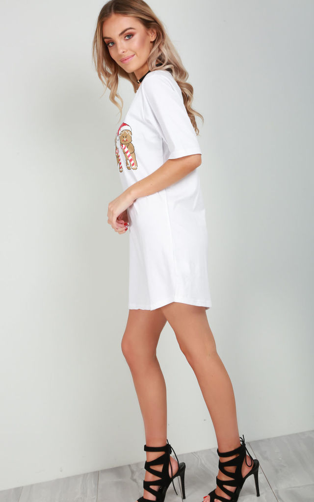 Evie Gingerbread Print T-Shirt Dress In White by Oops Fashion