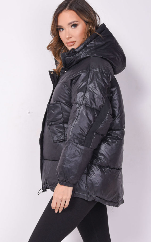 oversized puffer coat in black wet look by LILY LULU FASHION
