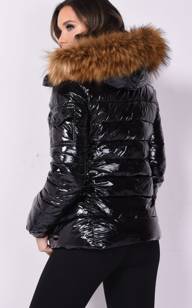 Wet look shinny faux fur hooded puffer coat black by LILY LULU FASHION
