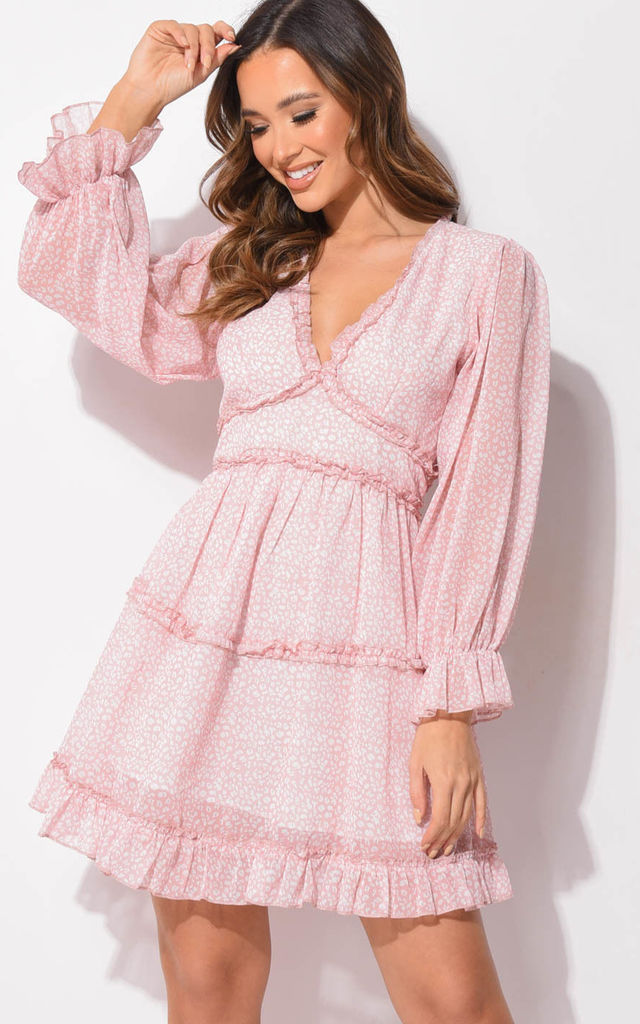 Frilled v neck tiered mini dress animal print pink by LILY LULU FASHION