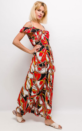 The Antigua Cold Shoulder Maxi Dress In Red by Brunch Club Girls. Product photo