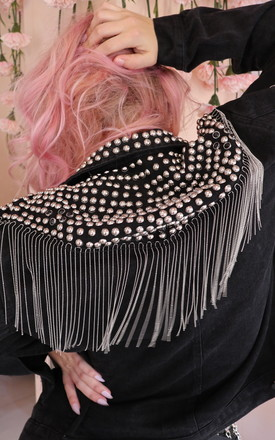 Anarchy Studded Fringe Denim Jacket by Bottle Blonde Studio Product photo