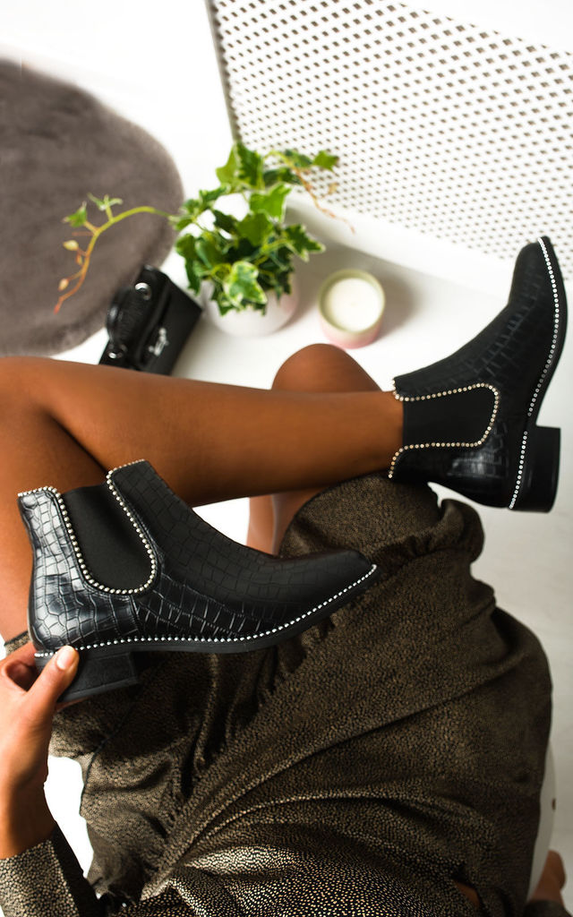 Shannon Croc Print Ankle Boots in Black by IKRUSH