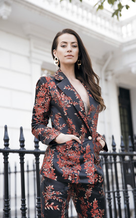 Black Floral Satin Jacket by ANGELEYE